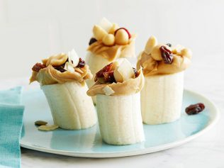 Banana and peanut butter snack