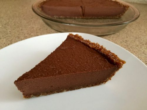 chocolate ecstasy no cheese cake on white plate