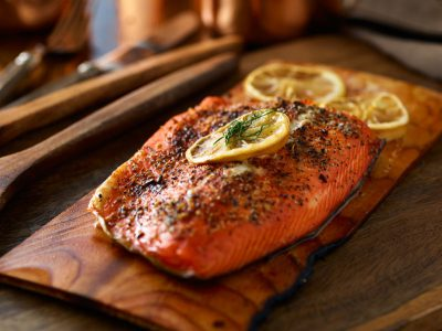 Pink salmon on a wooden board