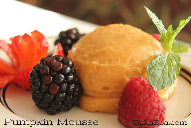 From Oaks Spa a Vegan Pumpkin Mousse dessert with fresh blackberries and raspberry