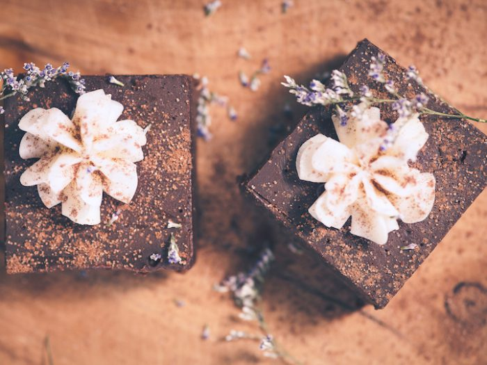 Chocolate Lavender Flourless Cake